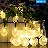 ANNT LED Solar Outdoor Light String 20ft Starry Crystal Ball Lights Waterproof 30 LEDs Globe Light Rope Yard Lights for Bedroom, Patio, Yard, Landscape, Party Decorations (Warm white)
