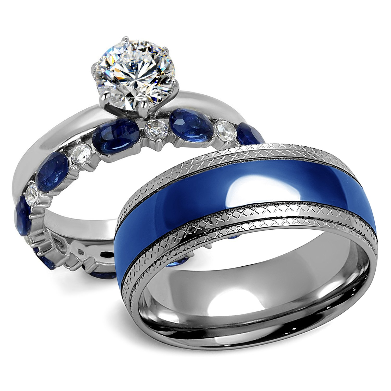 His and Hers Blue & Silver 316L Stainless Steel Wedding Rings Set (Women's Size 09 & Men's Size 09)