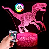 Refasy Children 3D Illusion Lamp Remote Control Dinosaur Night Light for Kids