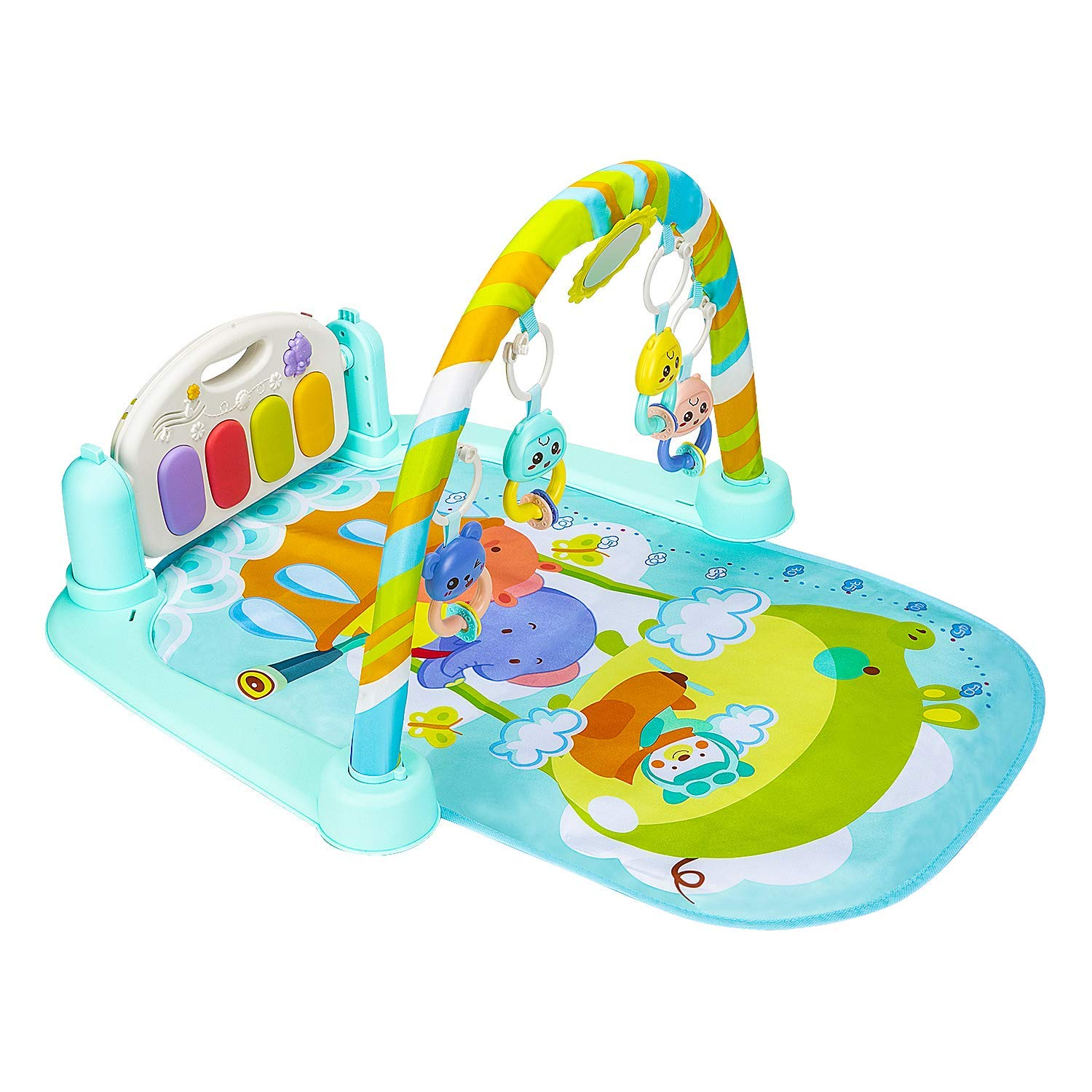 Christoy Baby Play Gym Kick and Play Mat Newborn Activity Gym Lay Play 3 in 1 Fitness Music and Lights Fun Piano Blue