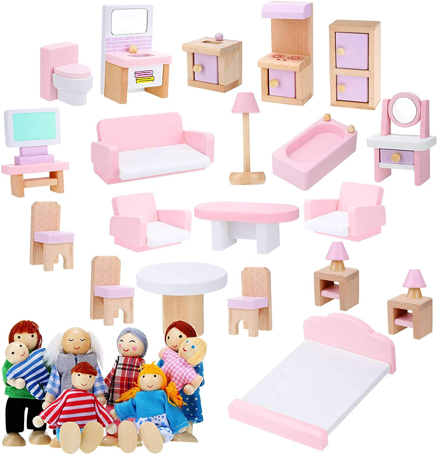 Wooden Dollhouse Furniture Doll House Furnishings with 8 Pieces Winning Doll Family Set, Dollhouse Accessories for Boys Girls Miniature Dollhouse, Family Figures Imaginative Play Toy (Pink Style)