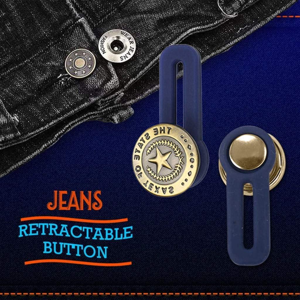 Dasongff Waistband Extenders Jeans einziehbarer Knopf Button Pant Extender Adds 28 Instantly Denim Waist Extender with Metal Button for Men or Womens Jeans