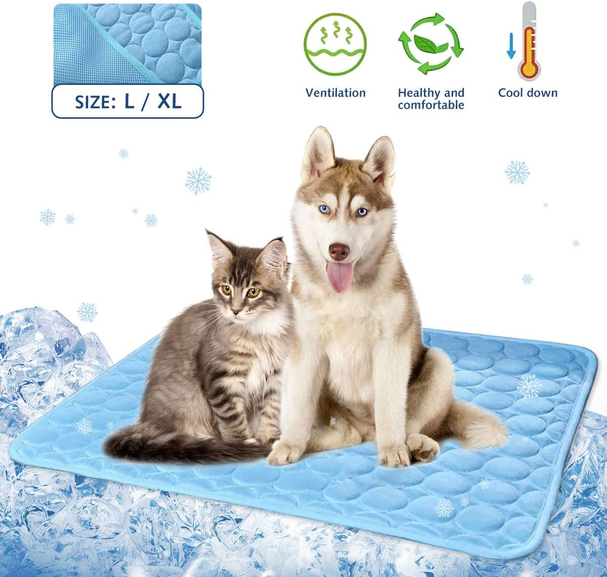 Wironlst Summer Pet Self Cooling Mat - Dogs Cats Washable Ice Silk Cooling Mat, Breathable Pet Crate Cushion Sleep Pad for Dogs Kennel Sofa Bed Floor