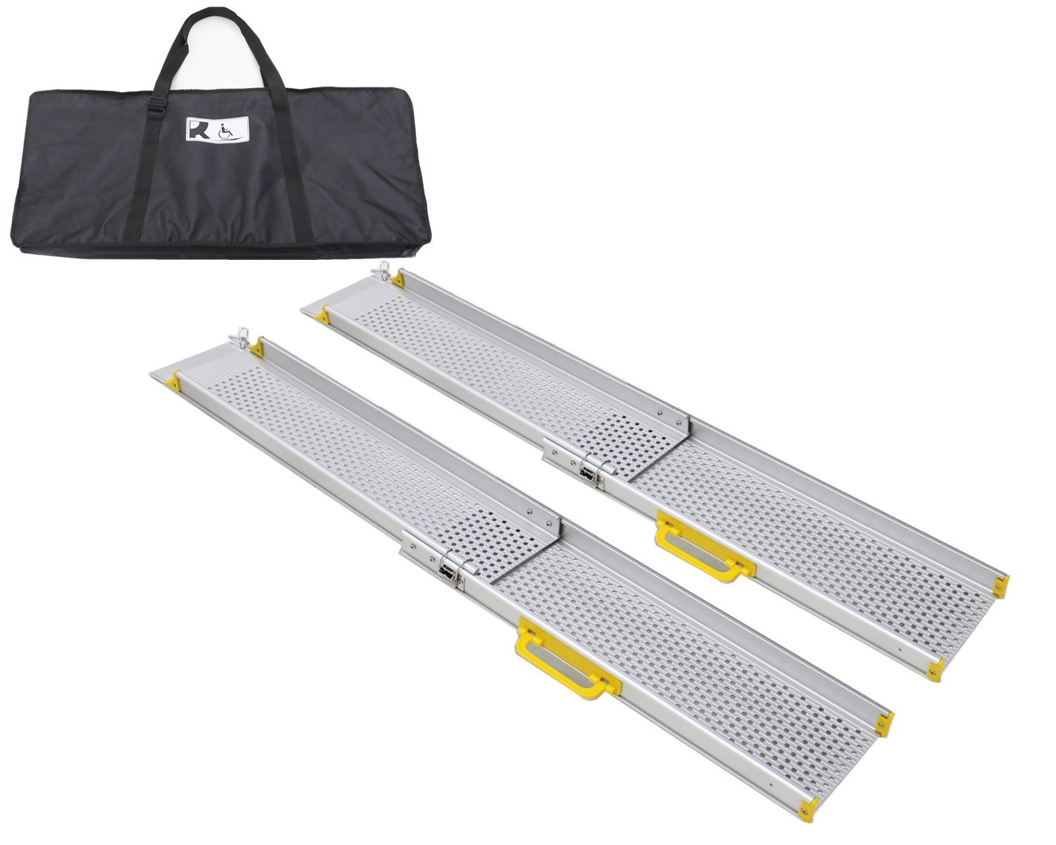 Ruedamann 5' Aluminum Adjustable Portable Telescoping Track Ramps Lightweight Wheelchair Ramp With Carrying Bag, Sold In Pair, 7.2'' Inside Width 5ft (MR10719-5)