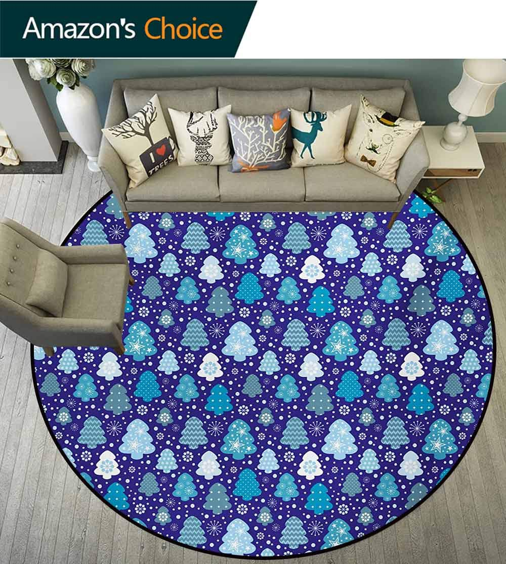 RUGSMAT Winter Modern Washable Round Bath Mat,Snowflakes and Silhouettes of Christmas Pine Trees Sweet Christmas Non-Slip Bathroom Soft Floor Mat Home Decor,Round-63 Inch Violet Blue Pale Blue White