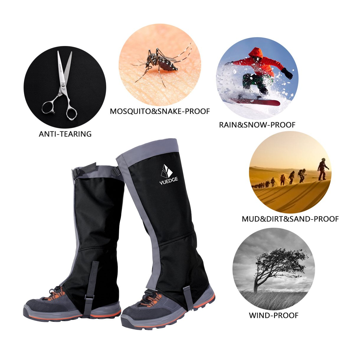 YUEDGE Waterproof Snow Leg Gaiters Lightweight Waterproof Breathable High Gaiters For Outdoor Walking Hiking Fishing Research Hunting Trimming Grass(Black&Gray)