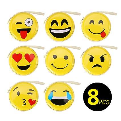 OOTSR 8 Piezas Monedero Emoji, Mini Billetera Redonda Lindo ...