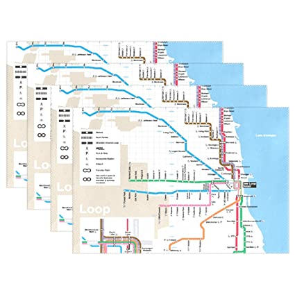 Chicago Subway Map Picture.Amazon Com Mamacool Classic Chicago Subway Map Placemats Heat