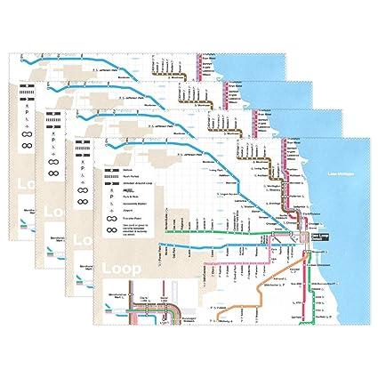 Chicago Subway Subway Map.Amazon Com Mamacool Classic Chicago Subway Map Placemats Heat