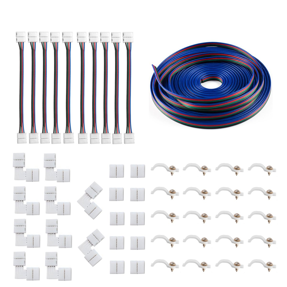 5050 4Pin LED Strip Connector Kit - 10mm RGB LED Connector Kit includes 32.8FT RGB Extension Cable, 10x LED Strip Jumper, 10x L Shape Connectors, 10x Gapless Connectors, 20x LED Strip Clips by iCreating (Image #1)
