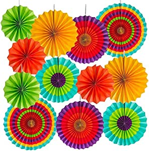 KRISMYA 12 Paper Fan Mexican Fiesta/Cinco De Mayo Fiesta Colorful Paper Fans Round Wheel Disc Southwestern Pattern Design for Carnival,Kids Party, Event, Home Hanging Decoration Supplies Favors