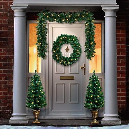 Lot Complet Décoration de Noël - Porte d\'Entrée - 1 Couronne ...
