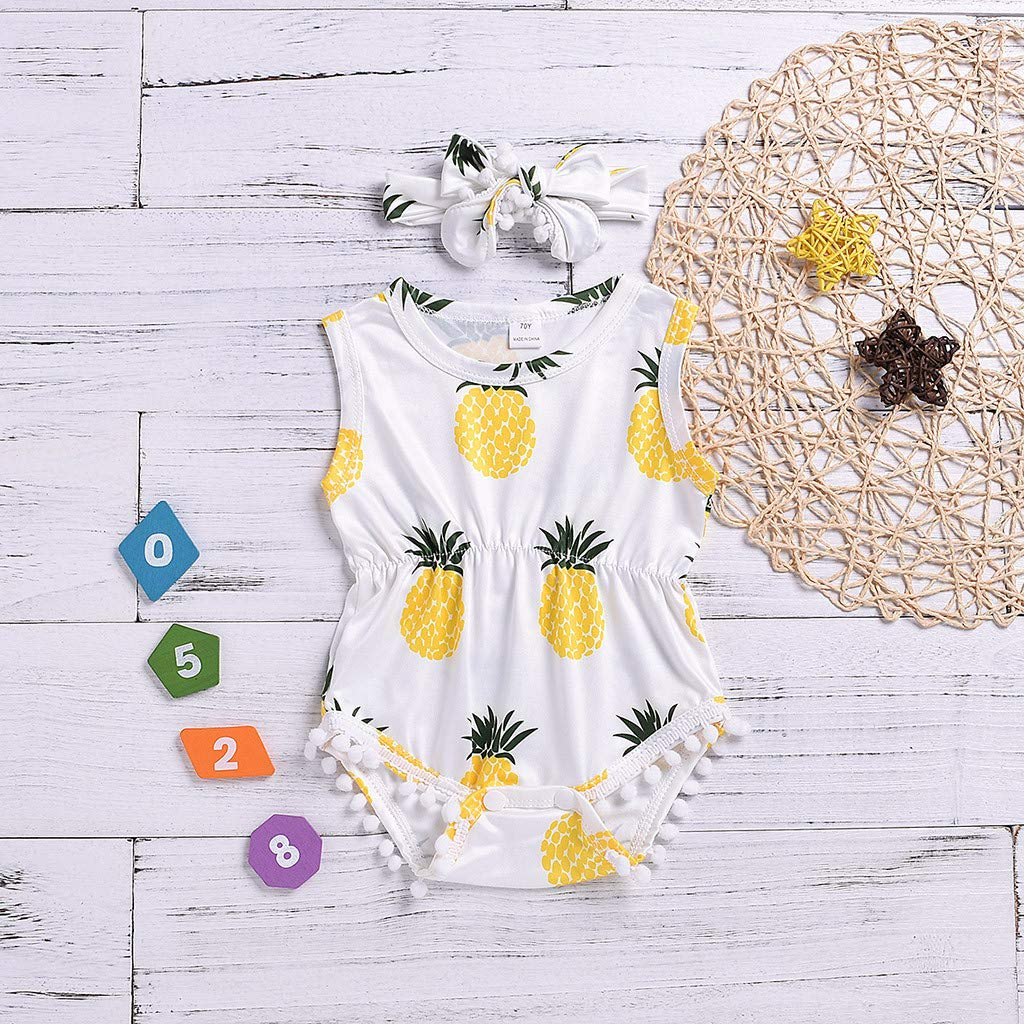 Fartido Sleeveless Outfits Toddler Girls Summer Romper Pineapple Print Tassel Vest Romper+Hair Band