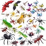Auihiay 36 Pack Large Plastic Insect Figures Assorted Insect Bugs Includes Multicolored Lifelike Butterfly for Children…