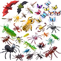Auihiay 36 Pack Large Plastic Insect Figures Toys Assorted Insect Bugs Include Multicolored Lifelike Butterfly for Children Education, Insect Themed Party, Halloween Toys and Birthday Gifts