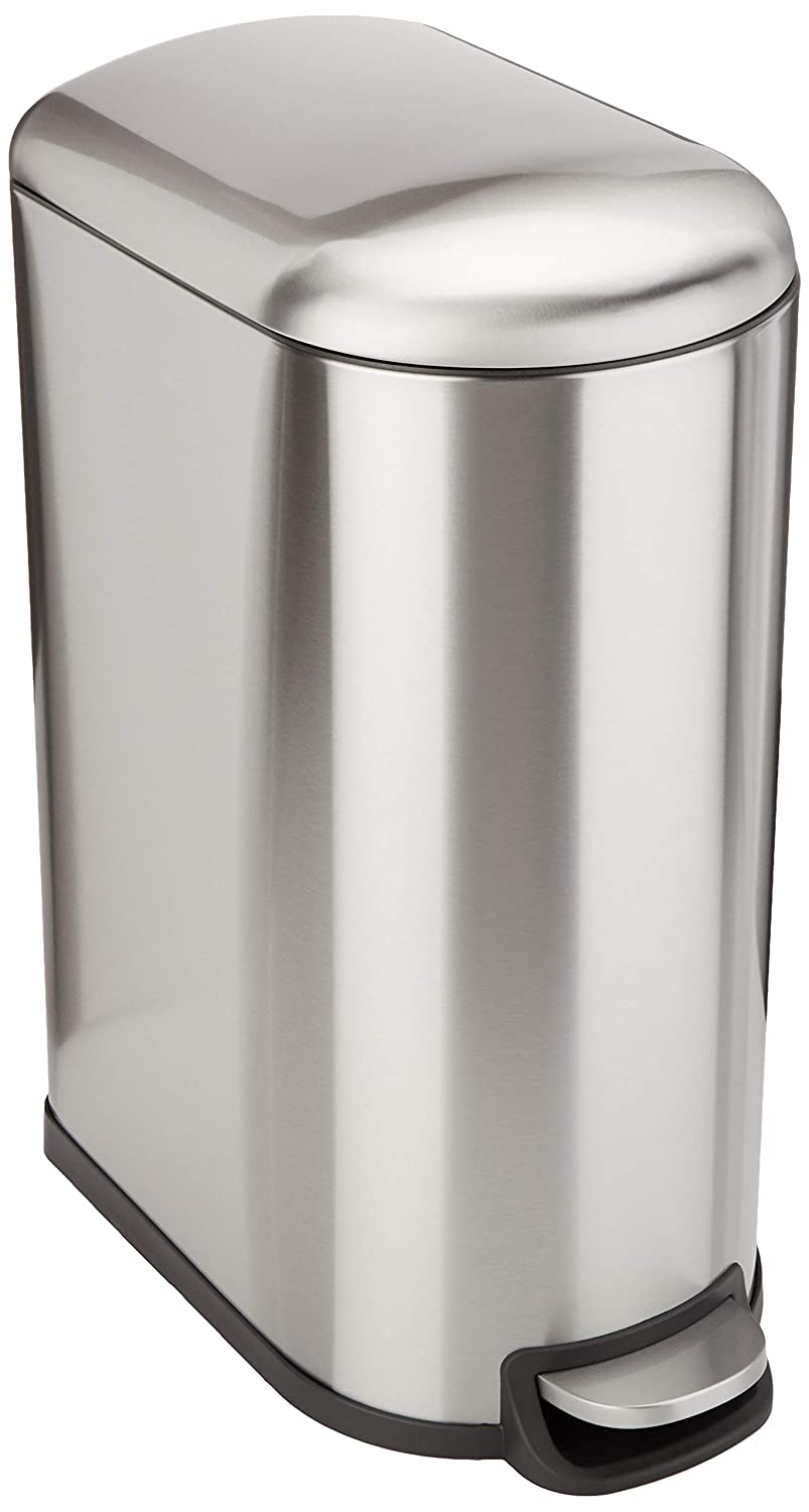 AmazonBasics Rectangle Soft-Close Trash Can for Narrow Spaces - 40L