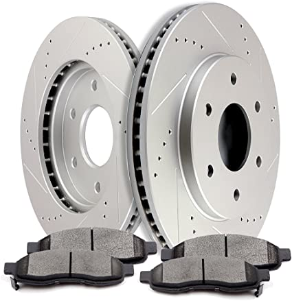 Titan Front Black Drilled Brake Rotors+Ceramic Brake Pads Fit Nissan Armada