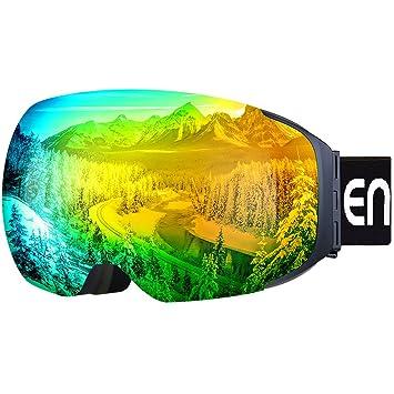 46305081e6f Enkeeo Ski Goggles - Detachable Dual Layer Anti-Fog Magnet Lens 100% UV400  Protection