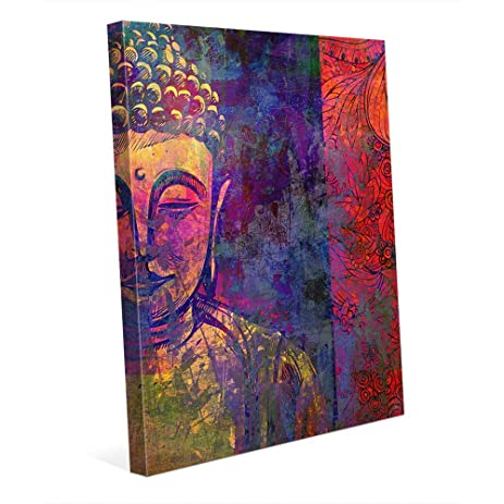 Urban buddha purple graphic pop art floral paisley in yellow purple blue red pink wall