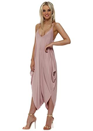 67dd7bf0b103 Made in Italy Rose Pink Jersey Parachute Strappy Jumpsuit One Size Pink   Amazon.co.uk  Clothing