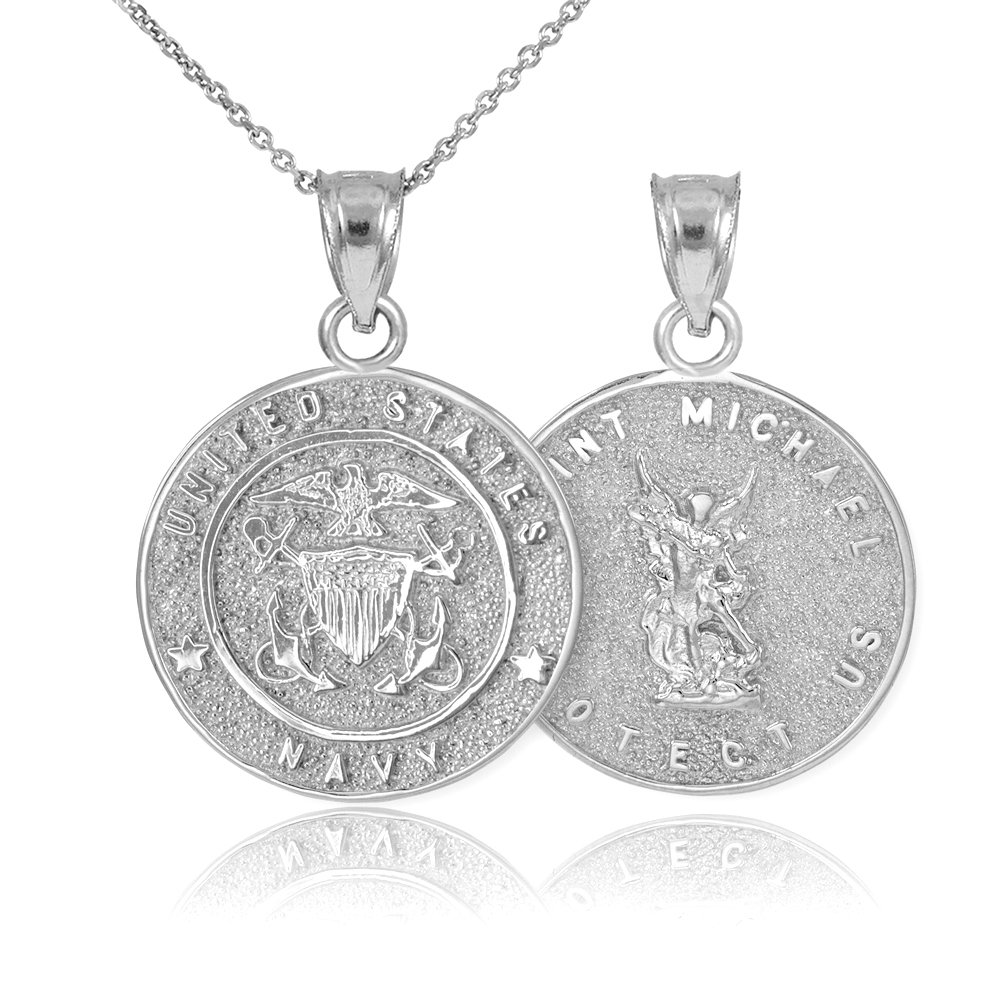 Fine 10k White Gold St Michael Medal Protection Charm US Navy Reversible Pendant Necklace, 22''