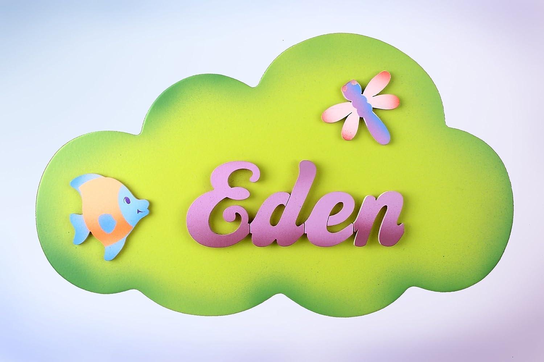 Cartel de nube Verde letra lila