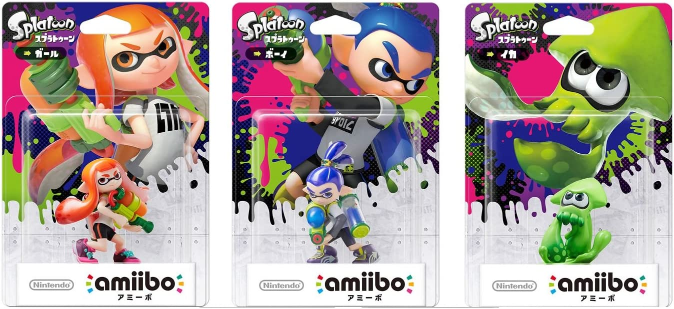 amiibo Splatoon 3 Types Set Girl Boy squid Mascot Platform ...