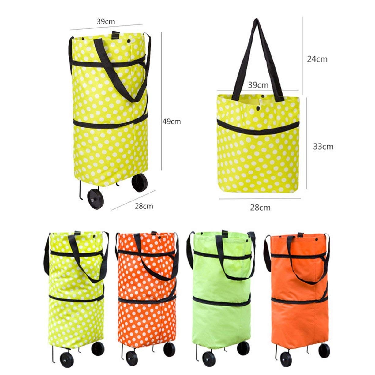 Shopping Trolley Wheel Bag,Fashionable Design Large Capacity Waterproof Oxford Cloth Foldable Shopping Trolley Wheel Bag Traval Cart Luggage Bag by Detectoy (Image #5)