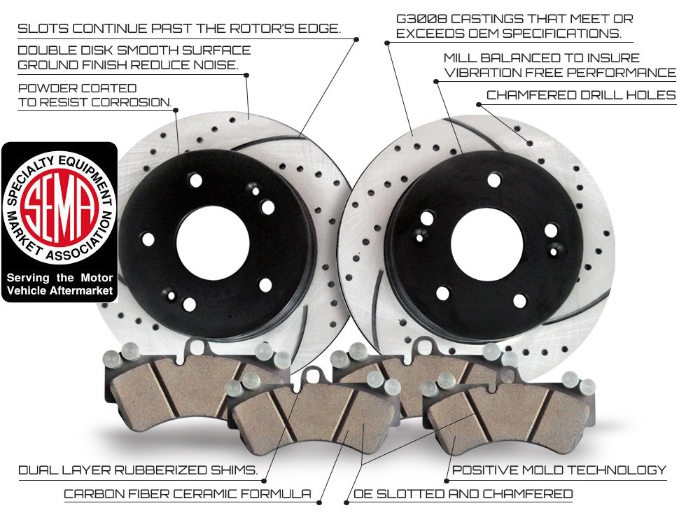 Approved Performance J36002 [Front Kit] Performance Drilled/Slotted Brake Rotors and Carbon Fiber Pads
