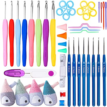 Juego de 57 ganchos de ganchillo para tejer con funda, agujas de tejer y herramientas de costura, kit completo de herramientas para el hogar: Amazon.es: Hogar