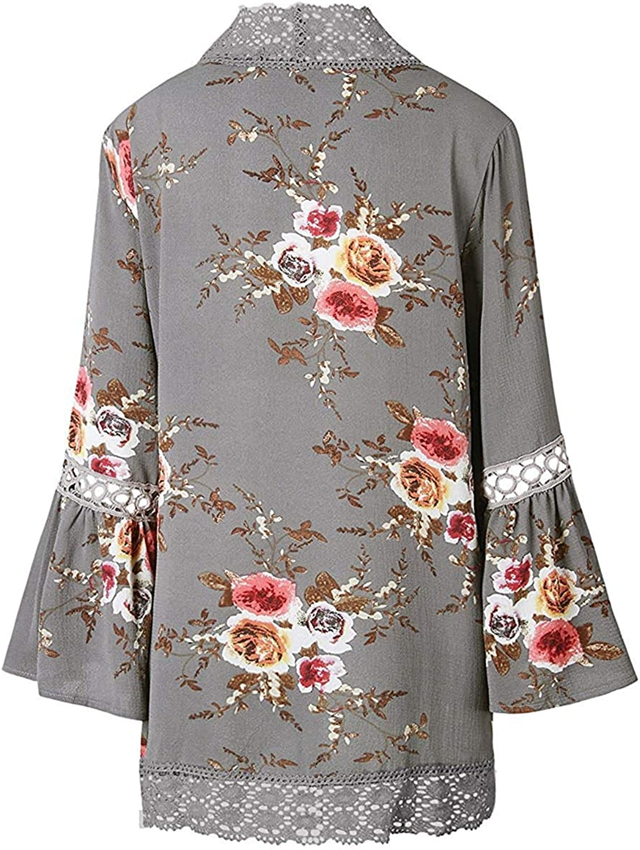 Cowear Womens Casual Floral Print Cardigan Chiffon Loose Cardigans