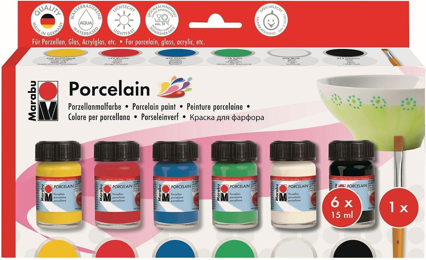 Marabu 1105000000087 Porcelain Starter Set Standardfarben mit 6 Stiften Porzellanmalfarbe auf Wasserbasis sp/ühlmaschinenfest ohne Einbrennen /& edding 4200 Porzellan Pinselstift