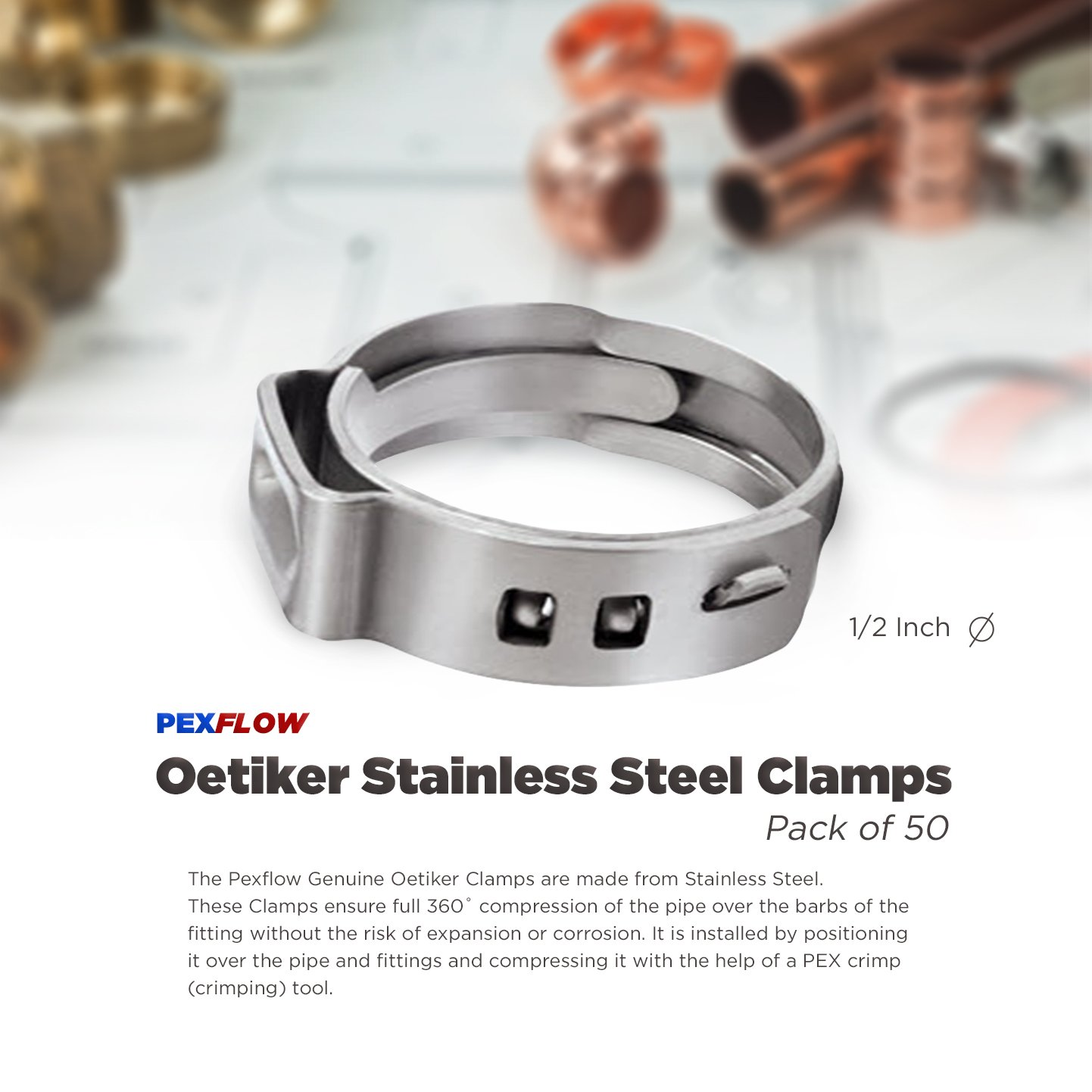 Pexflow PXKT-CR12-50 Oetiker Style Pinch Clamps Pex Cinch Rings, 1/2 INCH, Stainless Steel Pack of 50 by PEXFLOW (Image #3)