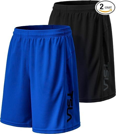 ef7a944c366544 TSLA Men's (Pack of 2) Mesh Lightweight Workout Shorts HyperDri Performance  w Pockets,