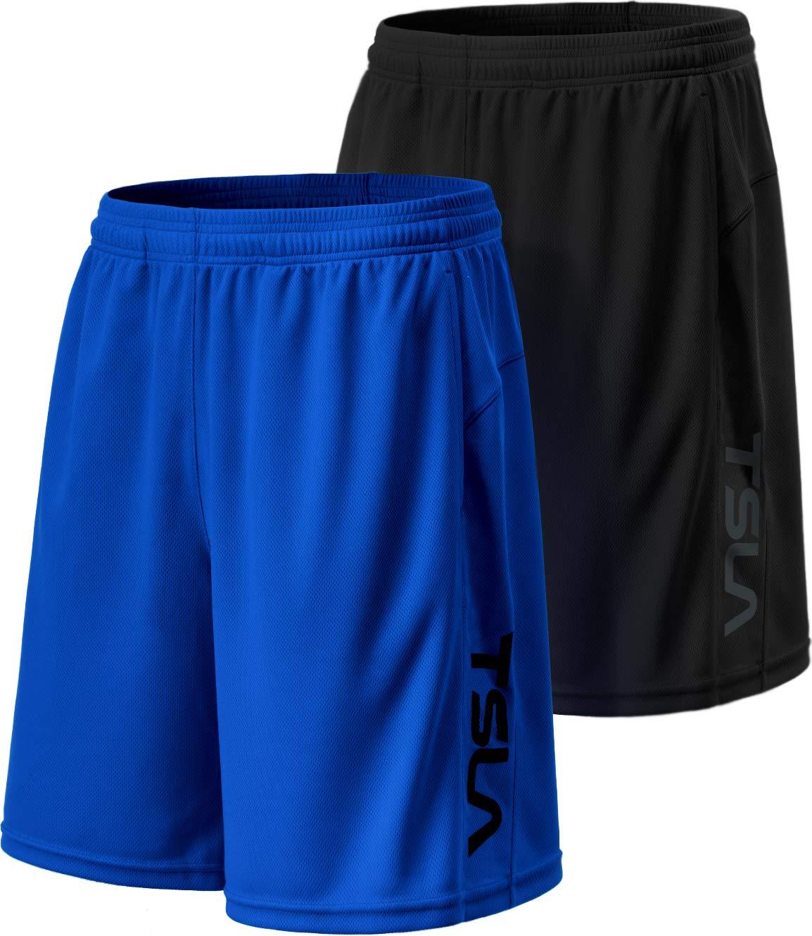 TSLA Men's HyperDri Cool Quick-Dry Active Lightweight Workout Performance Shorts (Pack of 2), Hyper Dri Dual Pack(mbh22) - Black/Blue, Small