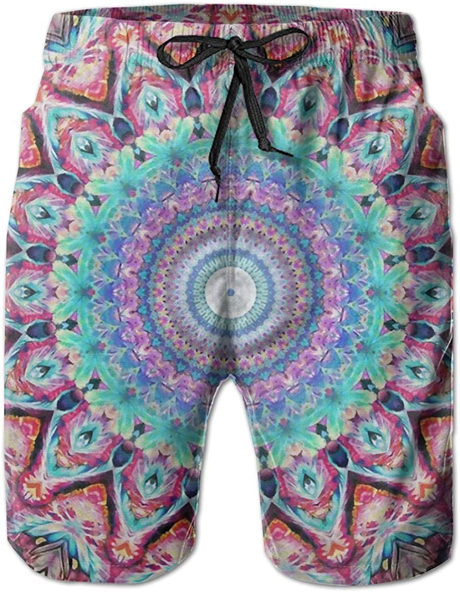 Angel kuy Hippie Mandala Bohemian Psychedelic Mens Beach Shorts Swim Trunks Quick Dry Board Short with Mesh Lining