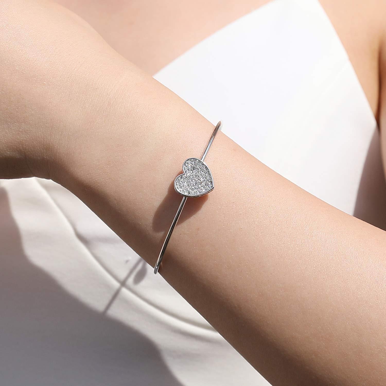 MILATU Bangle Bracelets for Women AAA Cubic Zirconia,Rose Gold ...