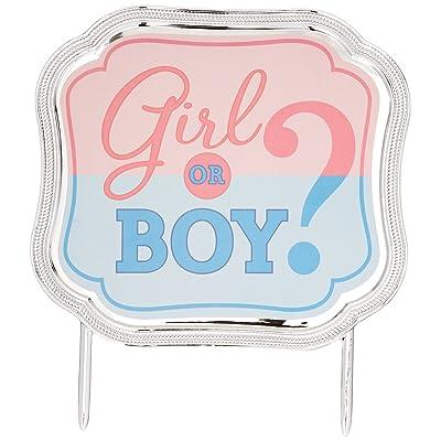 "Amscan 141573 Girl or Boy Cake Topper, 4 1/2"" x 5"", Blue/Pink: Kitchen & Dining"