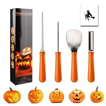 Ikalula Halloween Kürbis Schnitzset 4 Stück Edelstahl Halloween