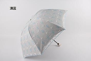 SHISHANG Sombrilla paraguas plegable contra - UV sombra dama bordado plegado paraguas doble selección de color