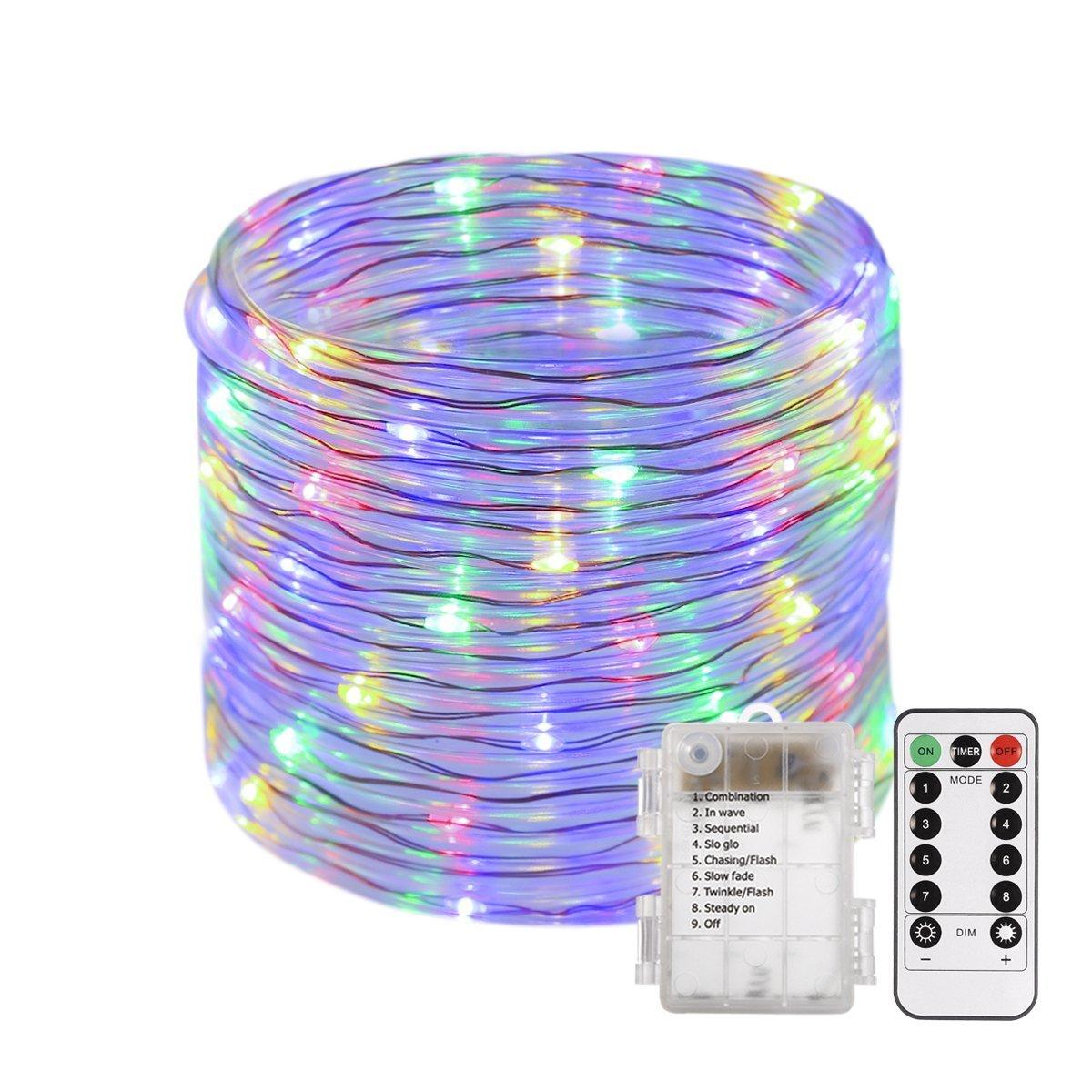 Gresonic - Tubo luminoso con 8 modalità di illuminazione, dimmerabile, timer, telecomando, funzionamento a batteria, per interni ed esterni, Multicolore, 100 LED
