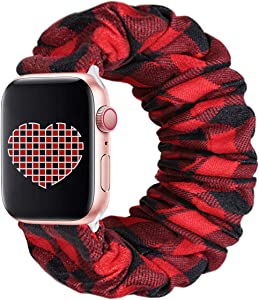 THOUSMOON Scrunchie Elastic Watch Band Compatible for Apple Watch,38mm 40mm / 42mm 44mm Light and Comfortable Watch Scrunchy Band Compatible with Iwatch Series 1/2/3/4 (Red Plaid, 38mm/40mm)