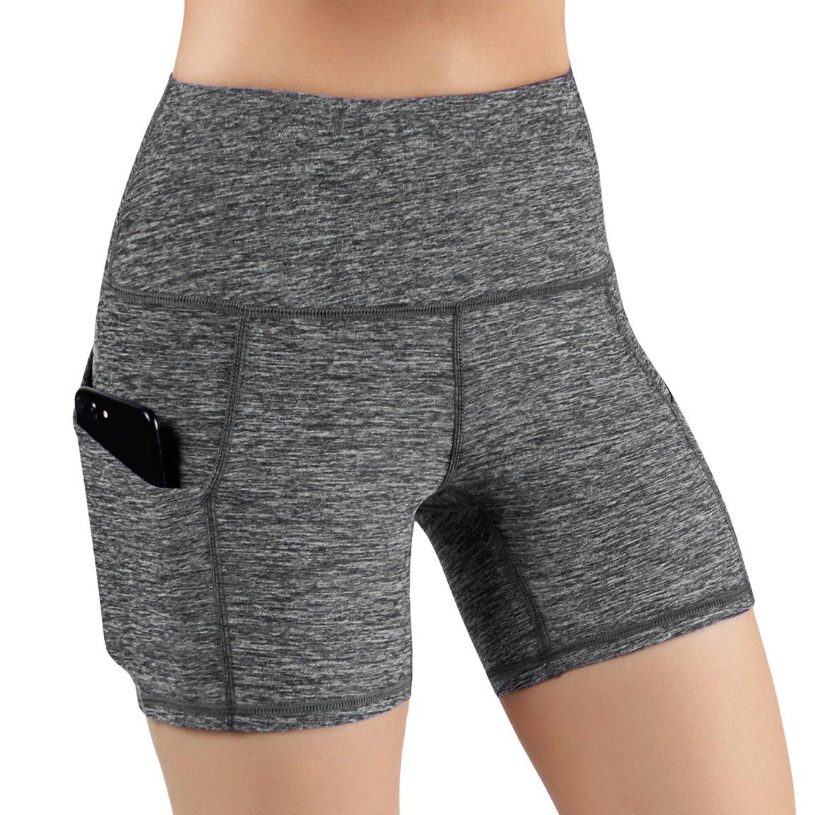 ODODOS High Waist Out Pocket Yoga Short Tummy Control Workout Running Athletic Non See-Through Yoga Shorts,GrayHeather,X-Small