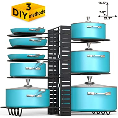 VDOMUS Pan Organizer Rack with 3 DIY Methods, Height Adjustable Kitchen Pan and pot Lid Holder, Black