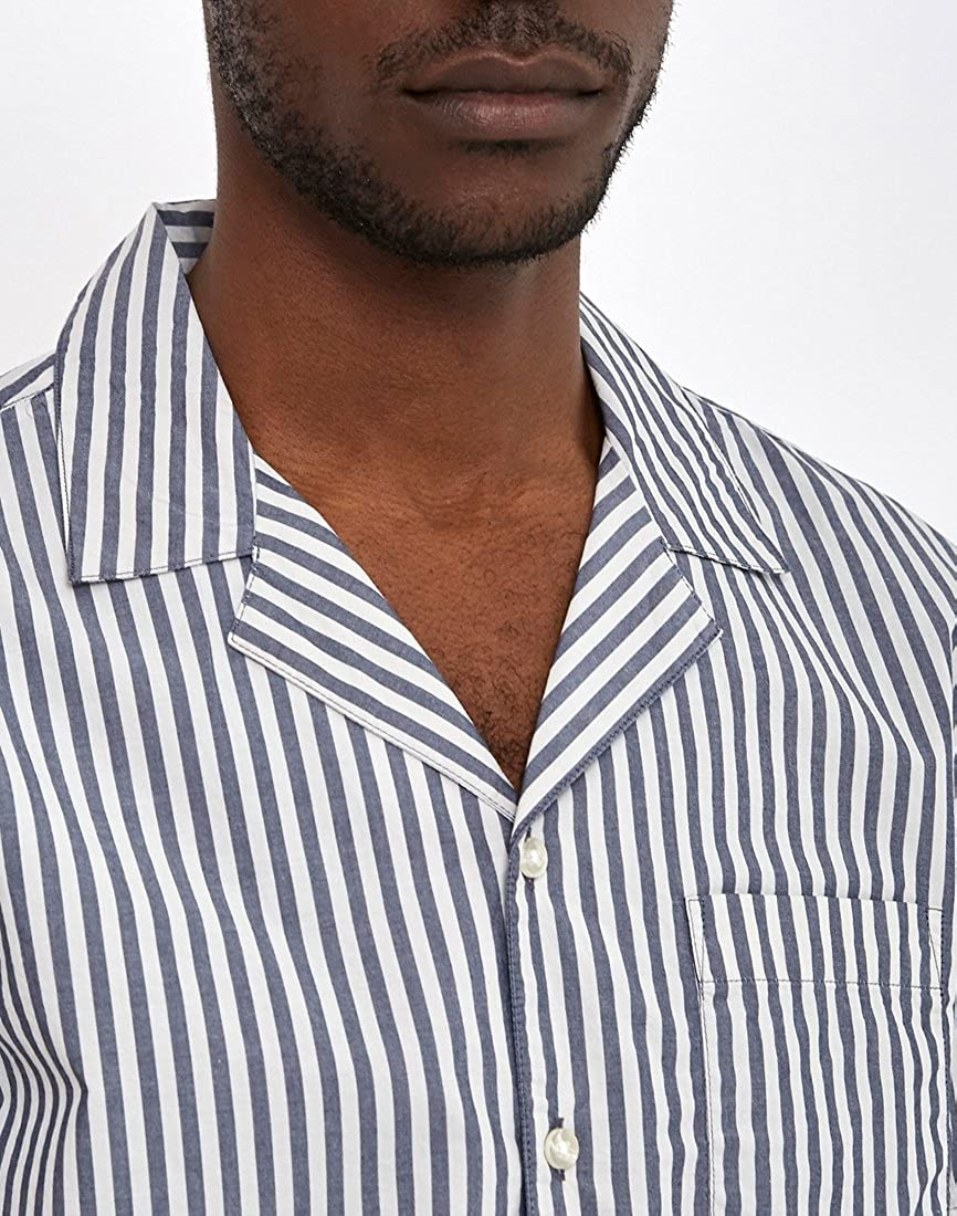 d32d6304b4 The Idle Man Awning Stripe Revere Collar Shirt Off White - Off White - XL:  Amazon.co.uk: Clothing