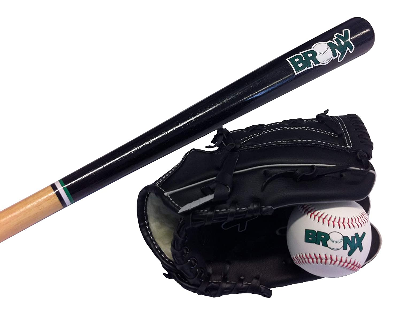 68,58 cm guante, madera, 27 color Black//Green//White Bronx Set Bate de b/éisbol , bolas