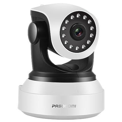 Pasonomi Cámara de Vigilancia, HD 720P IP Camera WiFi Interior P2P Micrófono Altavoz Visión Nocturna