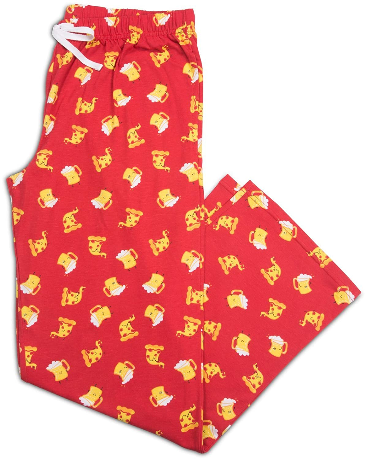 Late Night Snacks Pizza and Beer Unisex Pajama Pants With Pockets - Large