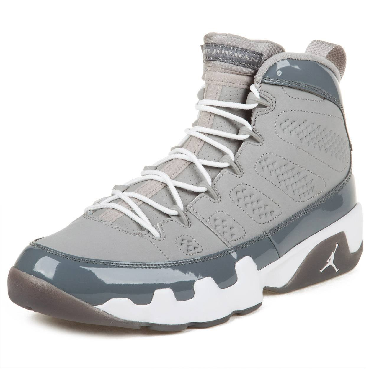 finest selection e8b8c fcdc0 Amazon.com   Nike Mens Air Jordan 9 Retro Cool Grey Medium Grey White  Leather Basketball Shoes Size 8   Basketball