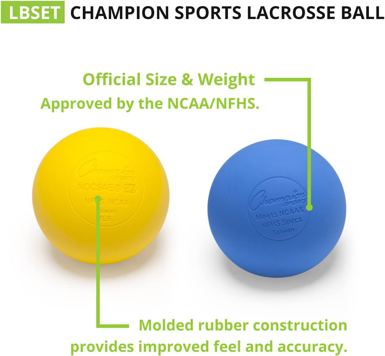 Blue Pack of 3 Champion Sports Official Size Rubber Lacrosse Ball